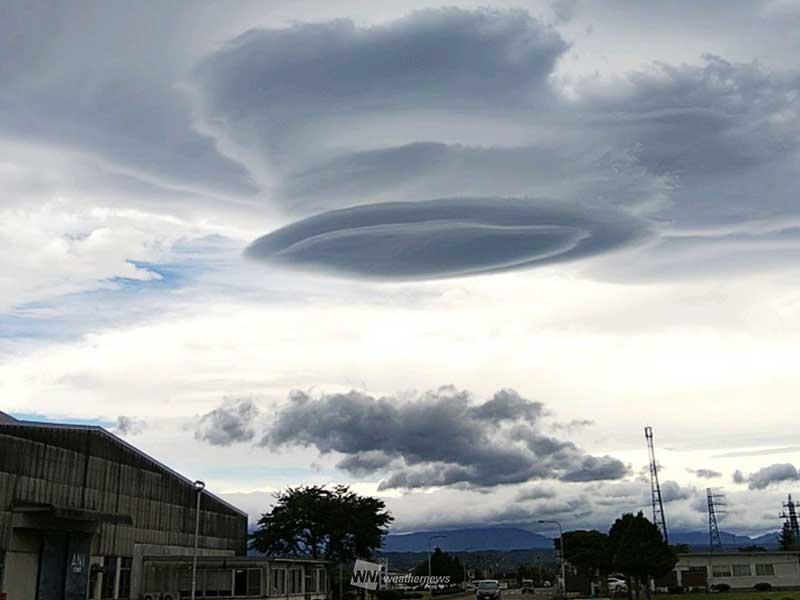 東北上空にUFO? 不思議な雲が出...
