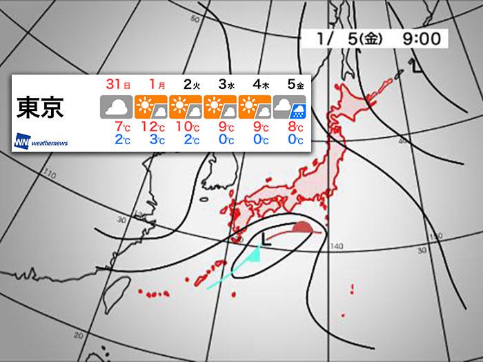関東 1月5日(金)は東京で雪?雨? - ウェザーニュース