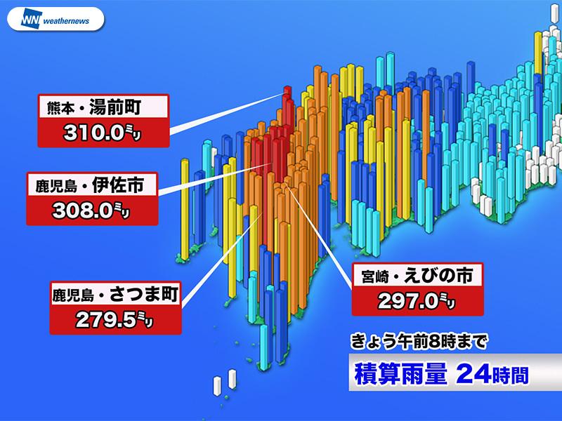 九州で300mm超の大雨、土砂災害や河川増水に警戒 - ウェザー ...