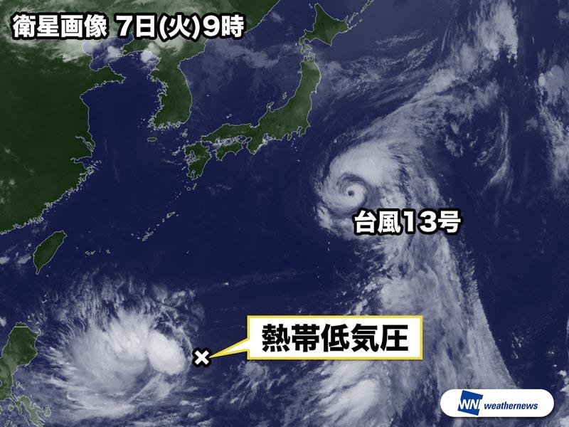 南海上の熱帯低気圧 明日にも台...