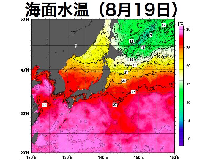 海面水温の低下は鈍くダブル台風は日本近海まで発達傾向連続する台風通過で水温はやや低下台風勢力の維持に十分な水温参考資料など