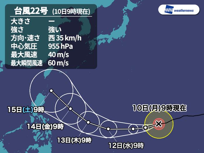 台風22号 12日(水)には猛烈な勢力に発達猛烈な勢力にまで発達北上の可能性は低く、フィリピン・台湾方面へ台風の名前動画解説参考資料など