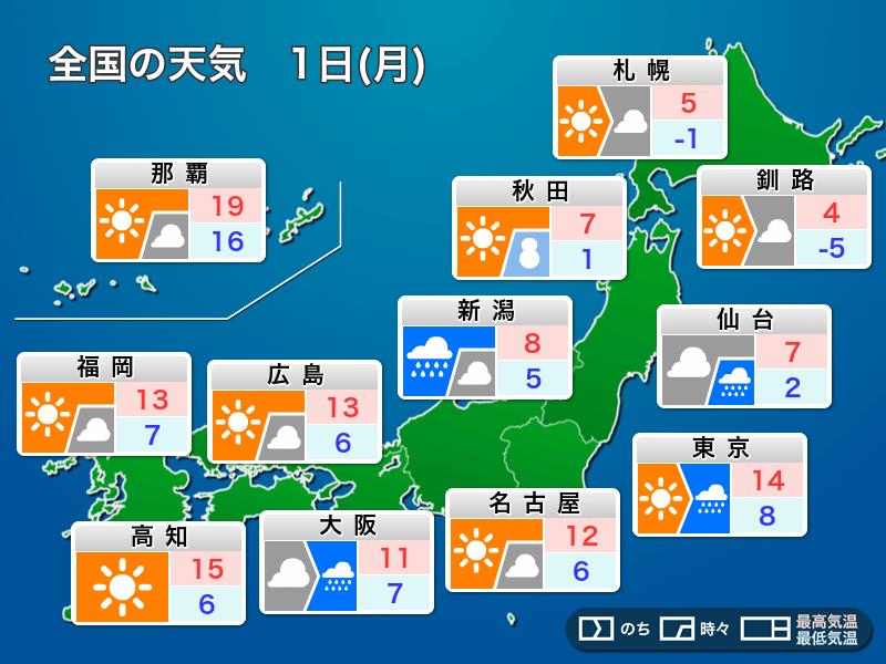 4月1日(月)の天気 新年度スタートは東京や大阪で雷雨に注意 - ウェザー ...