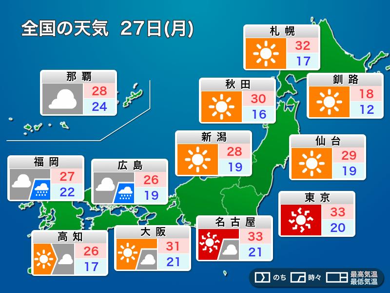 5月27日(月)の天気 東〜北日本は暑さ継続 西日本は天気下り坂 ...