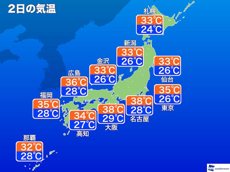 8月2日(金)の天気 危険な暑さ注意 熱中症に警戒 - ウェザーニュース