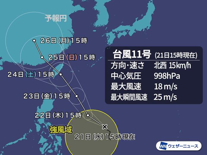 台風11号(バイルー…