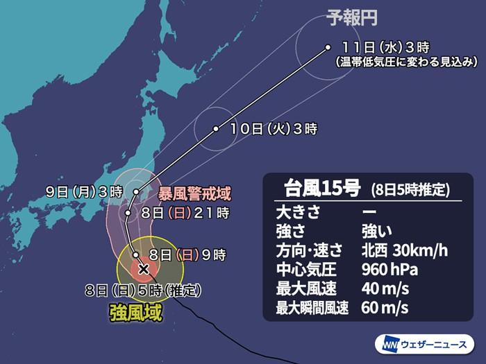 台風東京ピーク