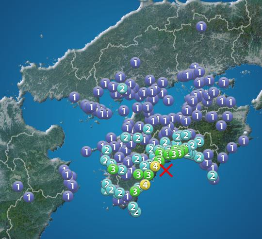 高知県で震度4の地震 震源は土佐湾 津波の心配なし - ウェザーニュース